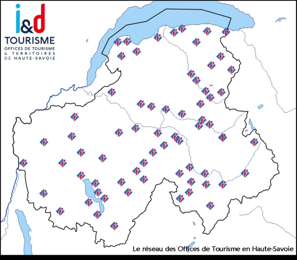 Carte des Offices de Tourisme en Haute-Savoie 74